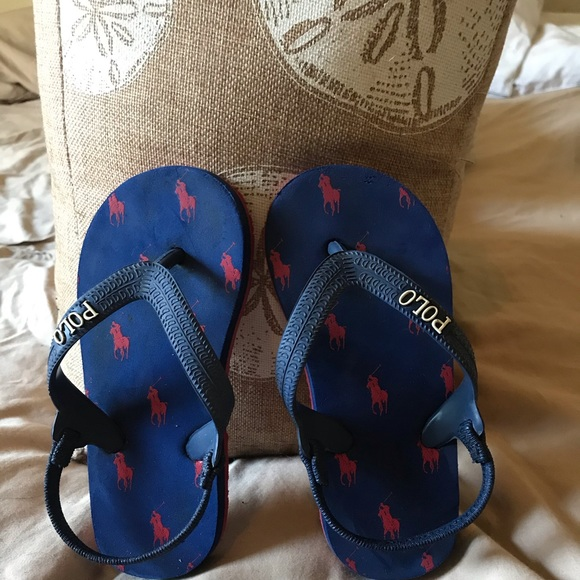 Navy Blue And Red Polo Flip Flops Size